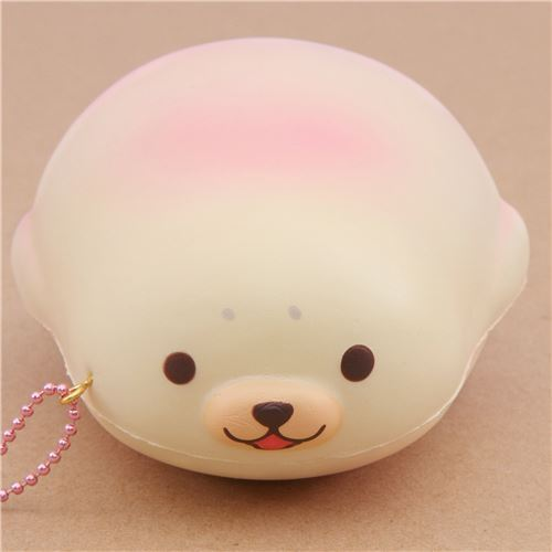 cute cream-pink mochi seal animal scented squishy by Puni Maru