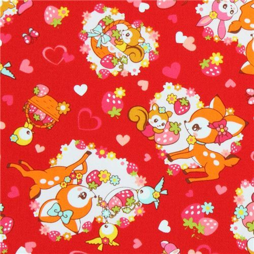 red Cosmo fabric deer squirrel strawberry Japan