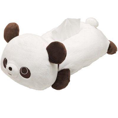 white-brown Chocopa panda bear plush tissue box