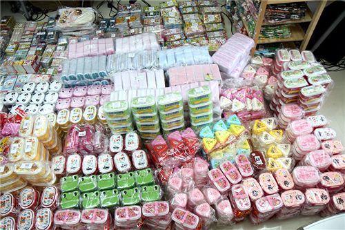 lots of bento boxes and stationery