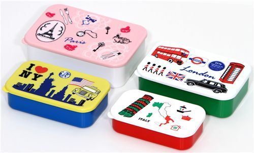 Paris London NY Italy Bento Box 4 pcs Lunch Box
