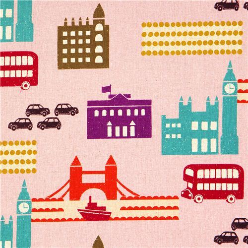 echino canvas designer fabric London pink from Japan