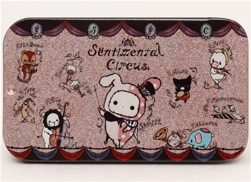 pale pink Sentimental Circus tin case pill box animals music