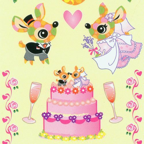 cute deer wedding sticker with animals and cake