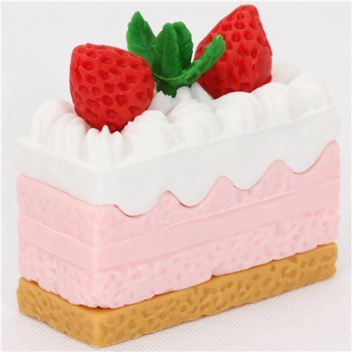 strawberry piece of cake eraser from Japan by Iwako