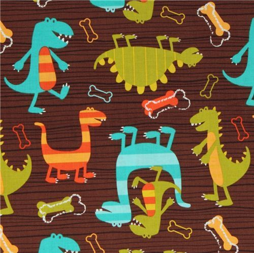 Michael Miller knit fabric Dino Dudes cute dinosaur