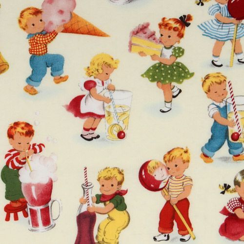 cute Michael Miller vintage fabric children playing