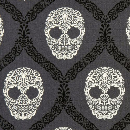 gray Michael Miller fabric skulls Skull Damask