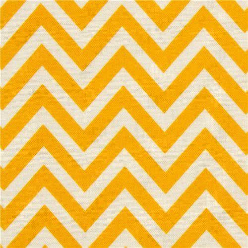 Riley Blake laminate fabric yellow zig-zag pattern