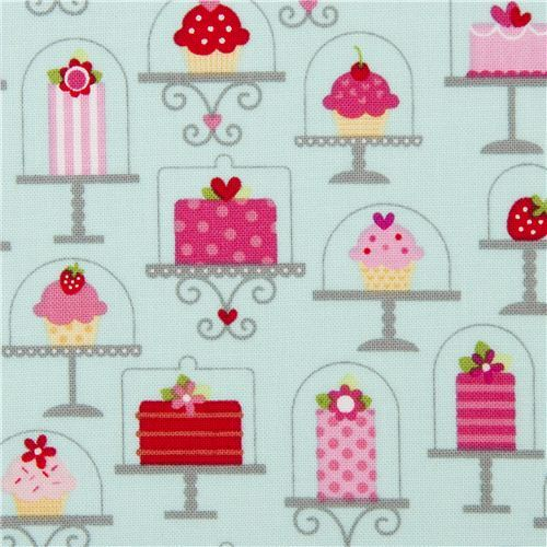 blue Riley Blake cake fabric from the USA strawberry