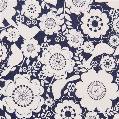 blue Riley Blake flower and animal fabric from the USA bird