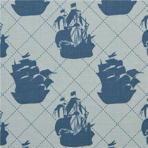 blue Riley Blake pirate ship fabric from the USA
