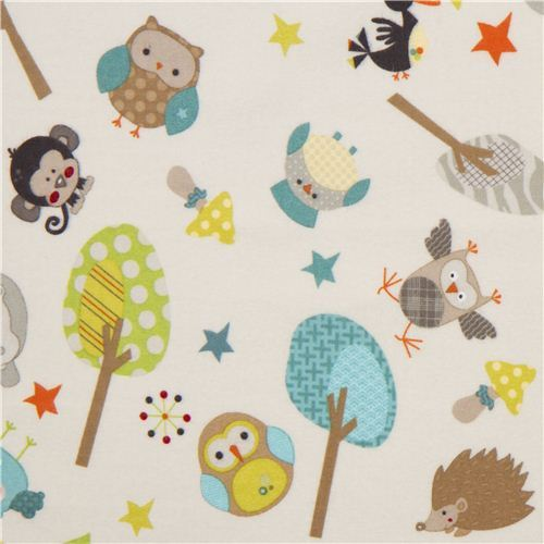 off-white Riley Blake animal flannel fabric owl hippo monkey