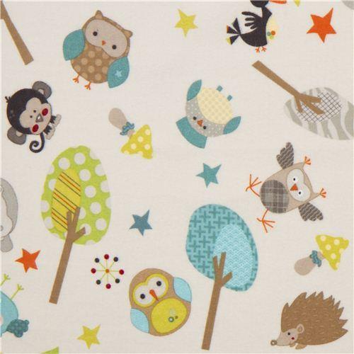 off-white Riley Blake animal flannel fabric owl hippo monkey