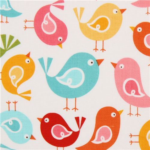 white Riley Blake bird animal fabric from the USA