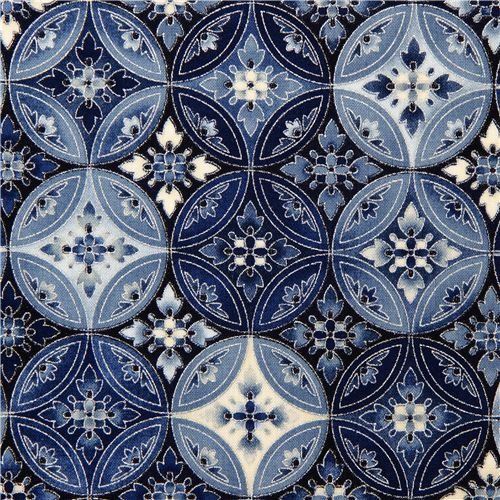 Robert Kaufman fabric with blue flower ornament silver