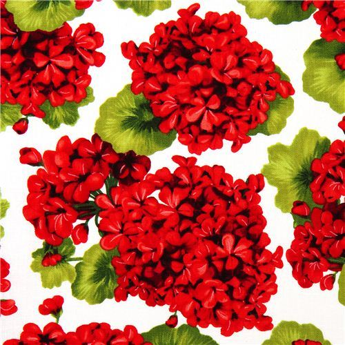 Robert Kaufman fabric with red flowers from the USA