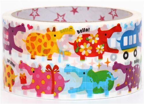 big cute colouful hippos Deco Tape kawaii