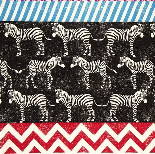 echino laminate fabric black zebras & stripes Japan