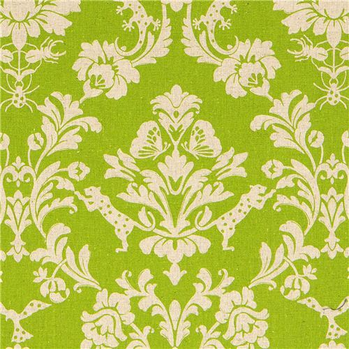 green echino laminate fabric Gothic leopard & ornament