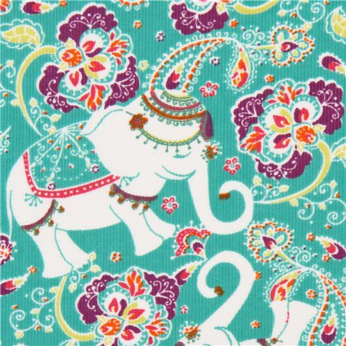 green elephant corduroy fabric Robert Kaufman Cool Cords