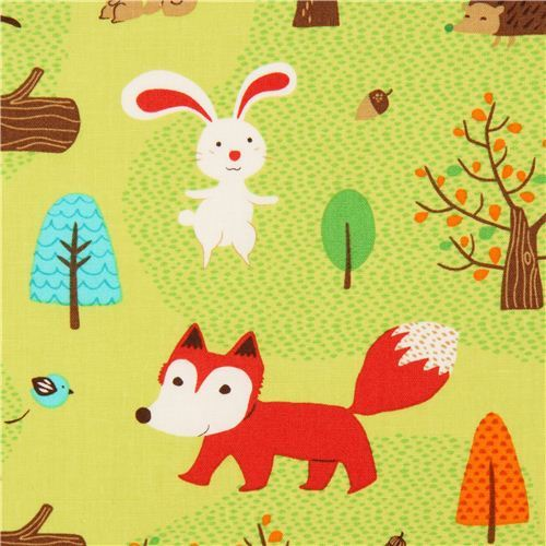 green forest animal fabric Robert Kaufman fox rabbit