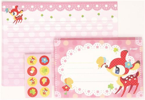 kawaii Letter Paper set from Japan with deer butterfly