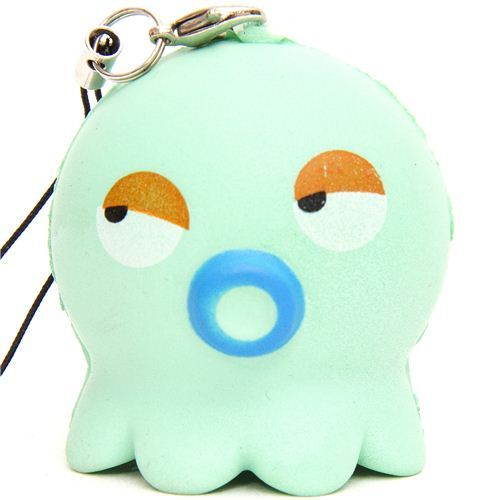 turquoise squid octopus squishy cellphone charm