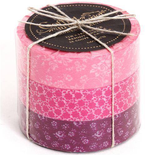 Washi Masking Deco Tape set 3pcs flower pattern pink