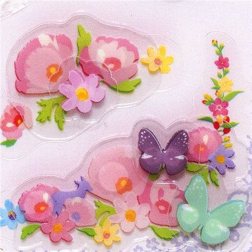 cute 3D Collage stickers butterfly & flower pink