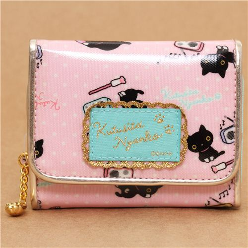 kawaii pale pink Kutusita Nyanko cat wallet with radios