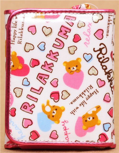 kawaii white San-X wallet Rilakkuma bear heart glitter