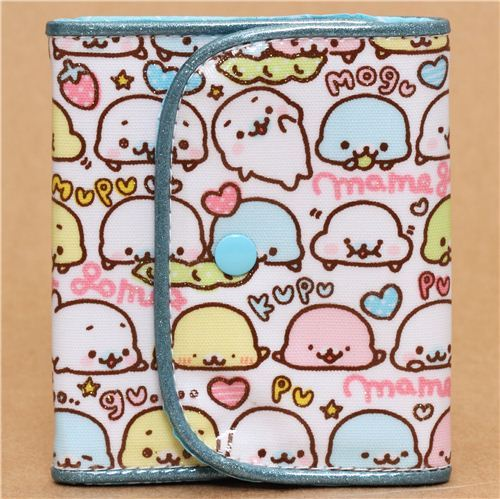 white Mamegoma seals wallet with glitter from Japan