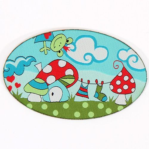 cute turquoise frog world woven label with fly agaric