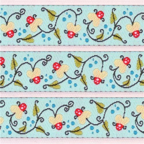 beautiful light blue water lily woven ribbon trim