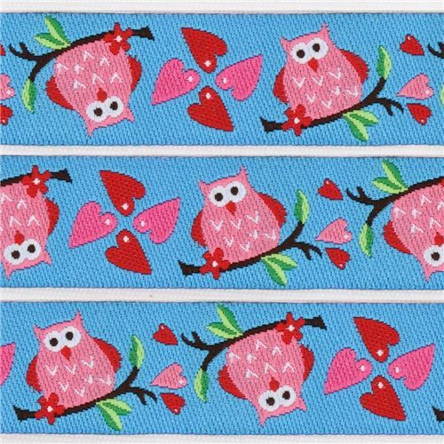 cute owls woven ribbon trim with hearts kawaii