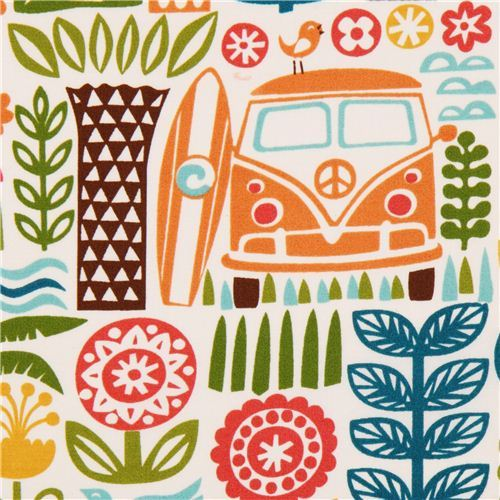 Ipanema orange palm tree bus surfing organic fabric by birch