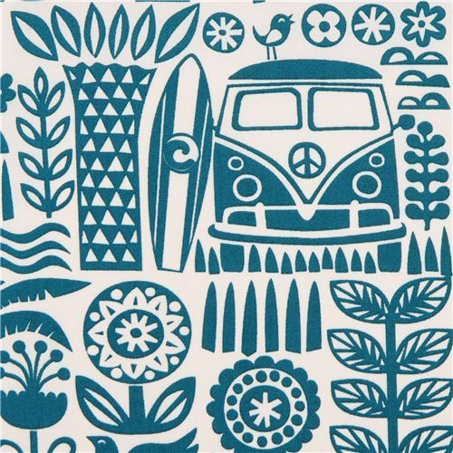 Ipanema teal palm tree bus surfing organic fabric by birch