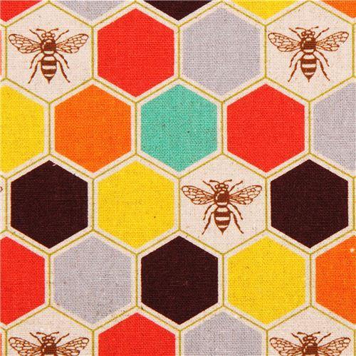 bee echino Canvas fabric brown orange bee honeycomb