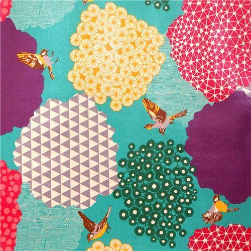 blue kalmia echino Canvas fabric bird bush