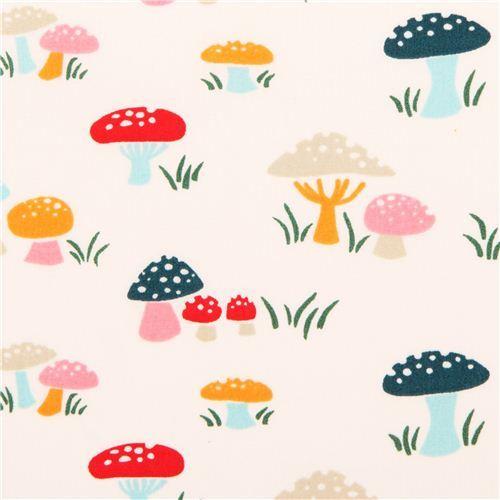 cream mushroom toadstool birch organic fabric Everyday Party