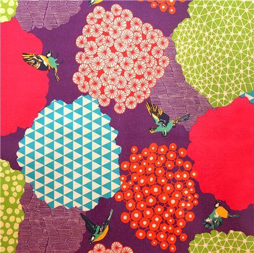 purple kalmia echino Canvas fabric bird bush