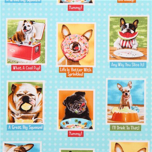 aqua dog food animal fabric Robert Kaufman Eat Drink And Be Funny