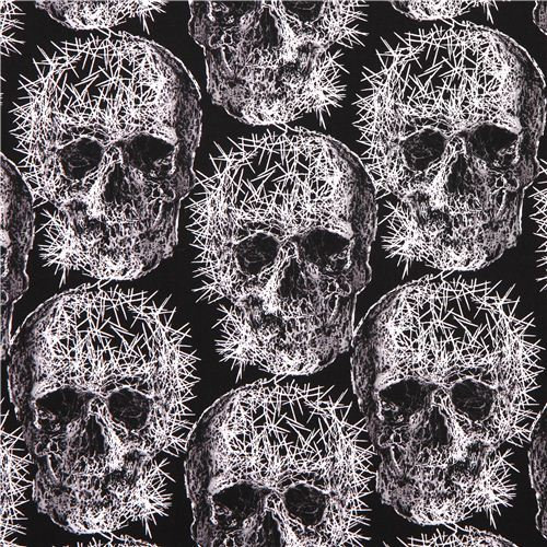black Michael Miller skull needle Halloween fabric Freak Out