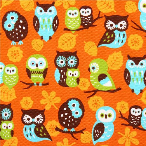 orange Cosmo owl oxford fabric leaf acorn Japan