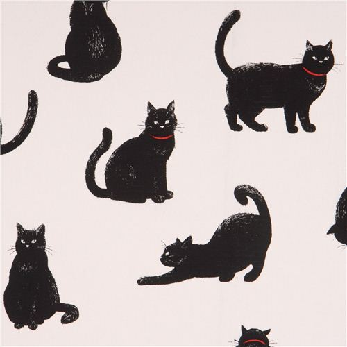 white Canvas fabric with black cats by Cosmo from Japan
