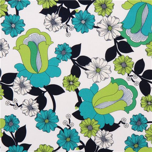 white flower canvas fabric Robert Kaufman green flowers USA