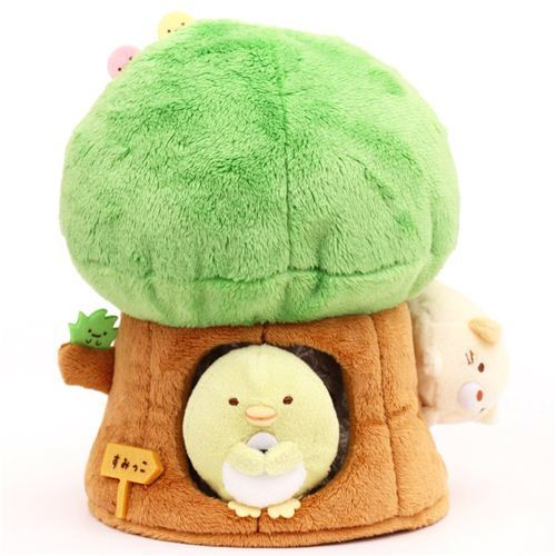 Sumikkogurashi plush toy tree with penguin and cat by San-X
