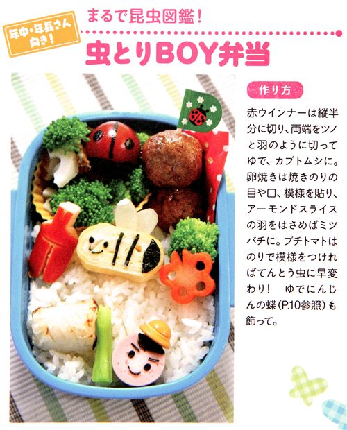 With fried egg, almonds and cut sausages you can make cute childrens bentos