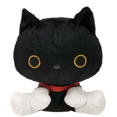 black Kutusita Nyanko cat with backpack plush toy